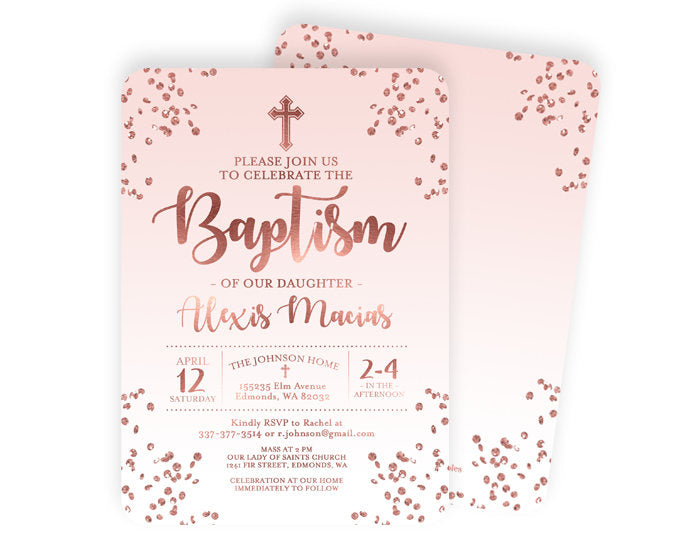 Rose Gold Baby Girl Christening Invitation Pink Girl Baptism Invitation Name Day Invite Rose Gold and Dusty Pink ANY EVENT