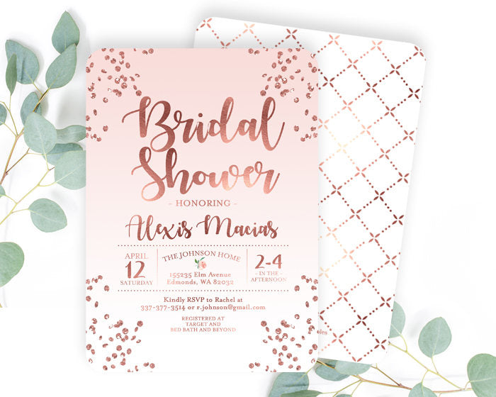 Rose gold and dusty pink bridal shower invitation blush pink and rose gold and dusty pink bridal shower invitation blush pink and rose gold glitter confetti bridal shower invite printable or printed filmwisefo