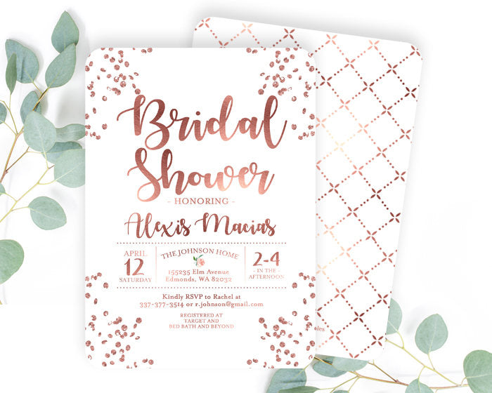 Rose Gold and Dusty Pink Bridal Shower Invitation Blush Pink and