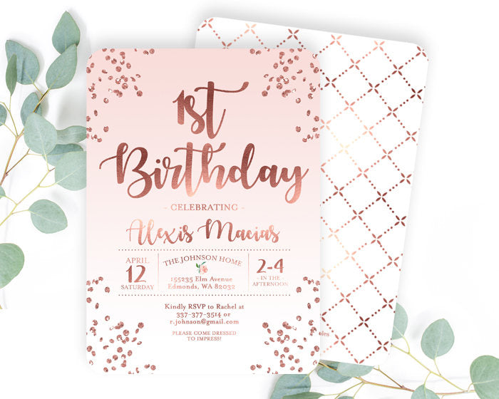 Pink and rose gold first birthday invitation girl 1st birthday pink and rose gold first birthday invitation girl 1st birthday invite blush pink and rose gold glitter confetti girl birthday invite any age stopboris Gallery