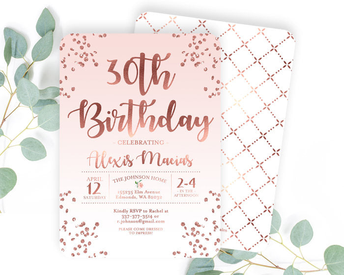 30th Birthday Invitation Rose Gold Glitter Confetti Blush Pink ANY AGE Adult Invite Any Color