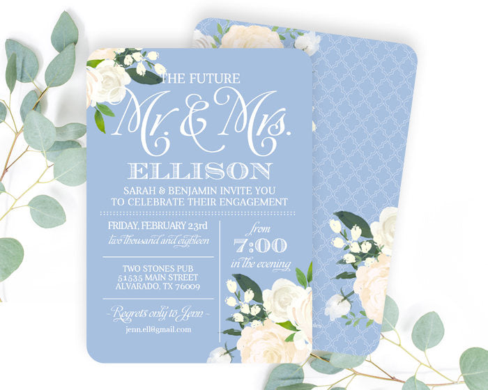 Dusty Blue Engagement Party Invitation White Roses Floral Engagement Party Invite Slate Blue White Roses Couples Shower Invite ANY EVENT