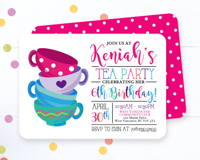 Tea Party Birthday Invitation Girl Pink Purple Blue Bright Colors Modern Tea Party Invite Girl Tea Party Birthday Invite ANY AGE