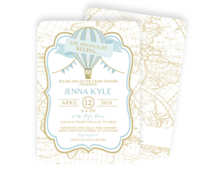 Gender Neutral Adventure Begins Baby Shower Invitation, Lavender Hot Air Balloon Baby Shower Invite, Around the World Baby Shower