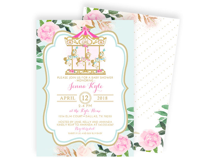Vintage Carousel Baby Shower Invitation Girl Baby Shower Invite Pink and Gold Baby Shower Invitation Carnival Baby Shower Invite