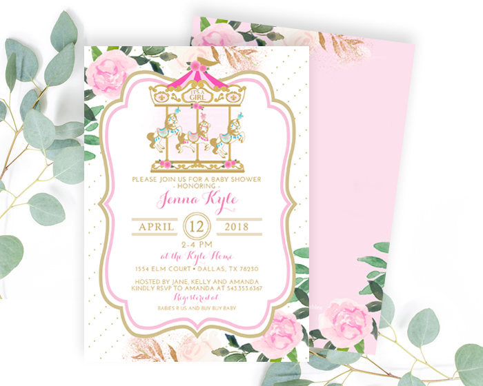 Baby kids sunshine printables carousel baby shower invitation pink gold and white baby shower invitation vintage carousel filmwisefo Image collections