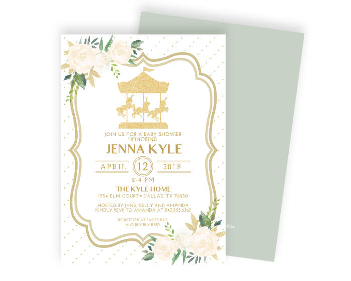 Gender Neutral Carousel Baby Shower, White & Gold Baby Shower, Greenery White Floral Baby Shower Invitation, Carousel Baby Shower, Carnival