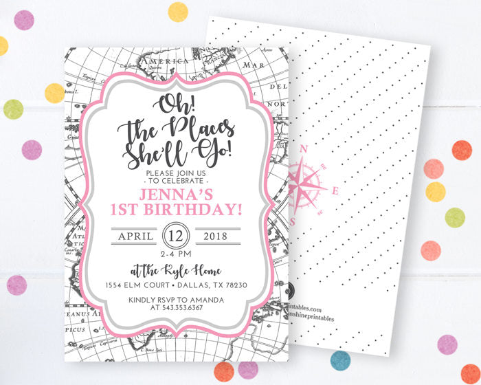 Oh The Places She'll Go Birthday Invitation, Oh The Places You'll Go Invitation, Adventure Birthday Invitation