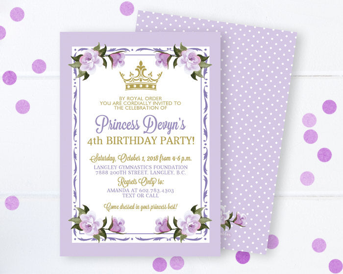 Princess Birthday Invitation Lavender Gold Floral Invite 1st