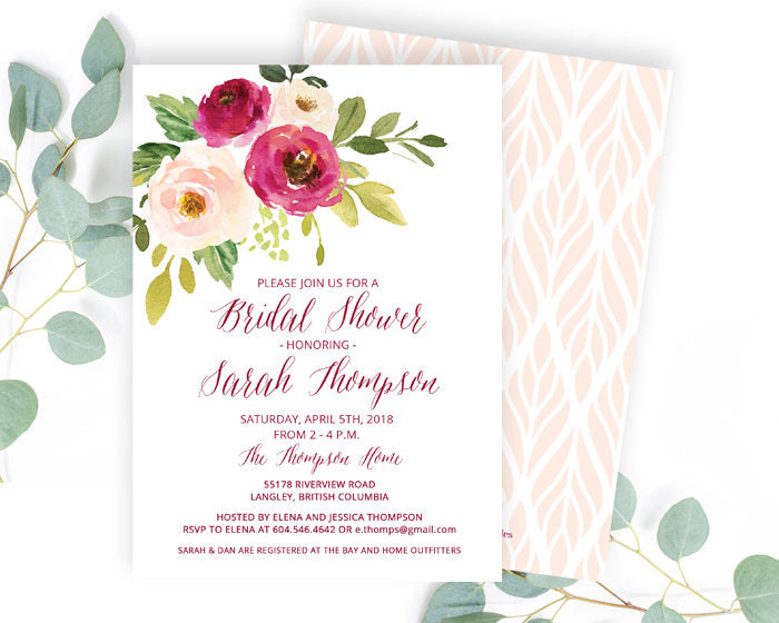 Blush and Berry Floral Bridal Shower Invitations, Bridal Shower Invite, Bridal Brunch Invitation Floral, ANY EVENT, Sarah Red Floral