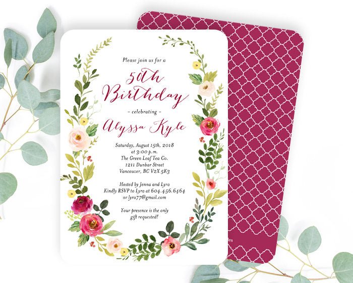 Floral 50th Birthday Invitation Blush And Berry Wreath Adult Invitations Spring