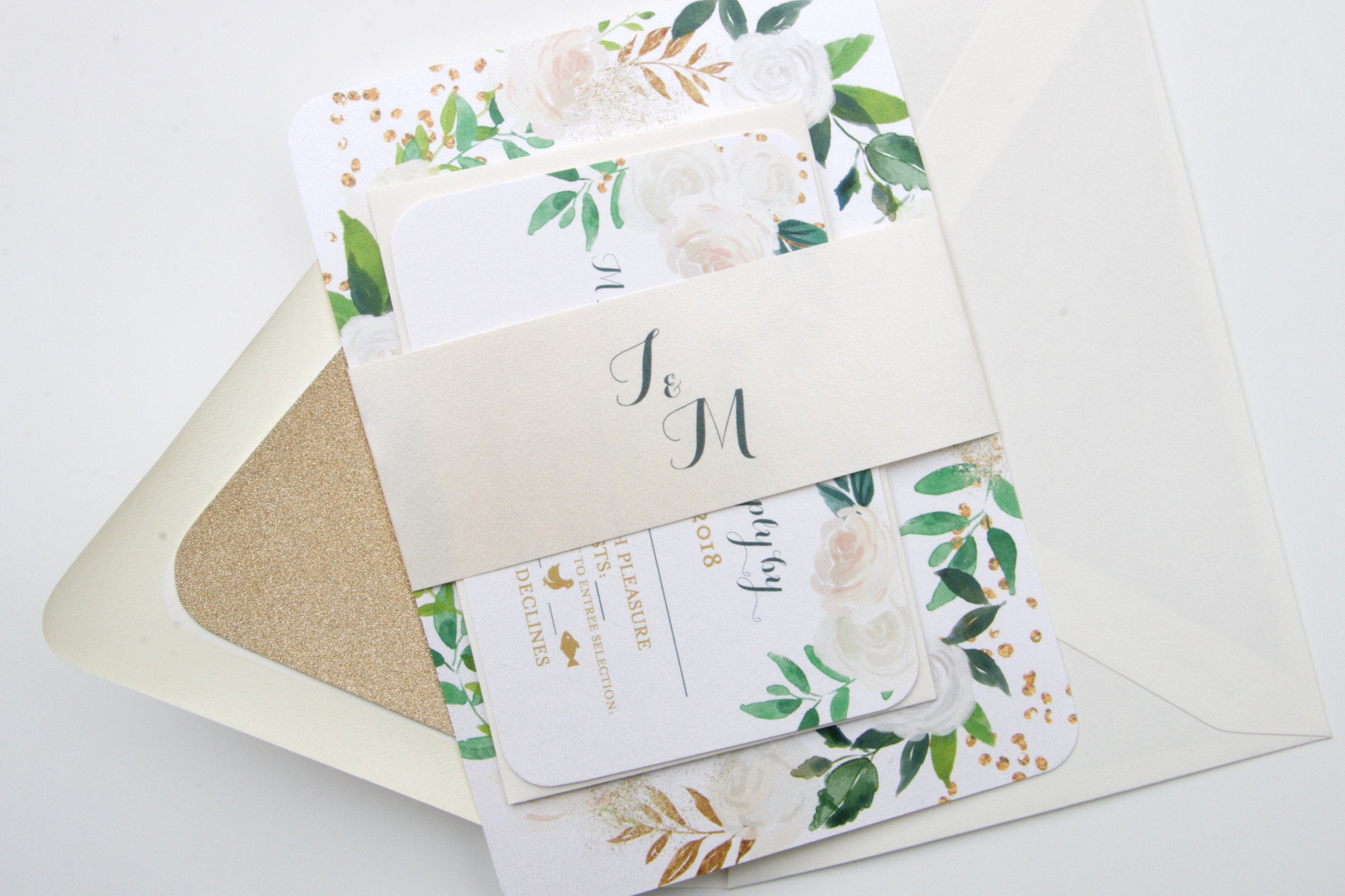 Printed Wedding Invitations, White Roses Floral, Greenery and Gold ...