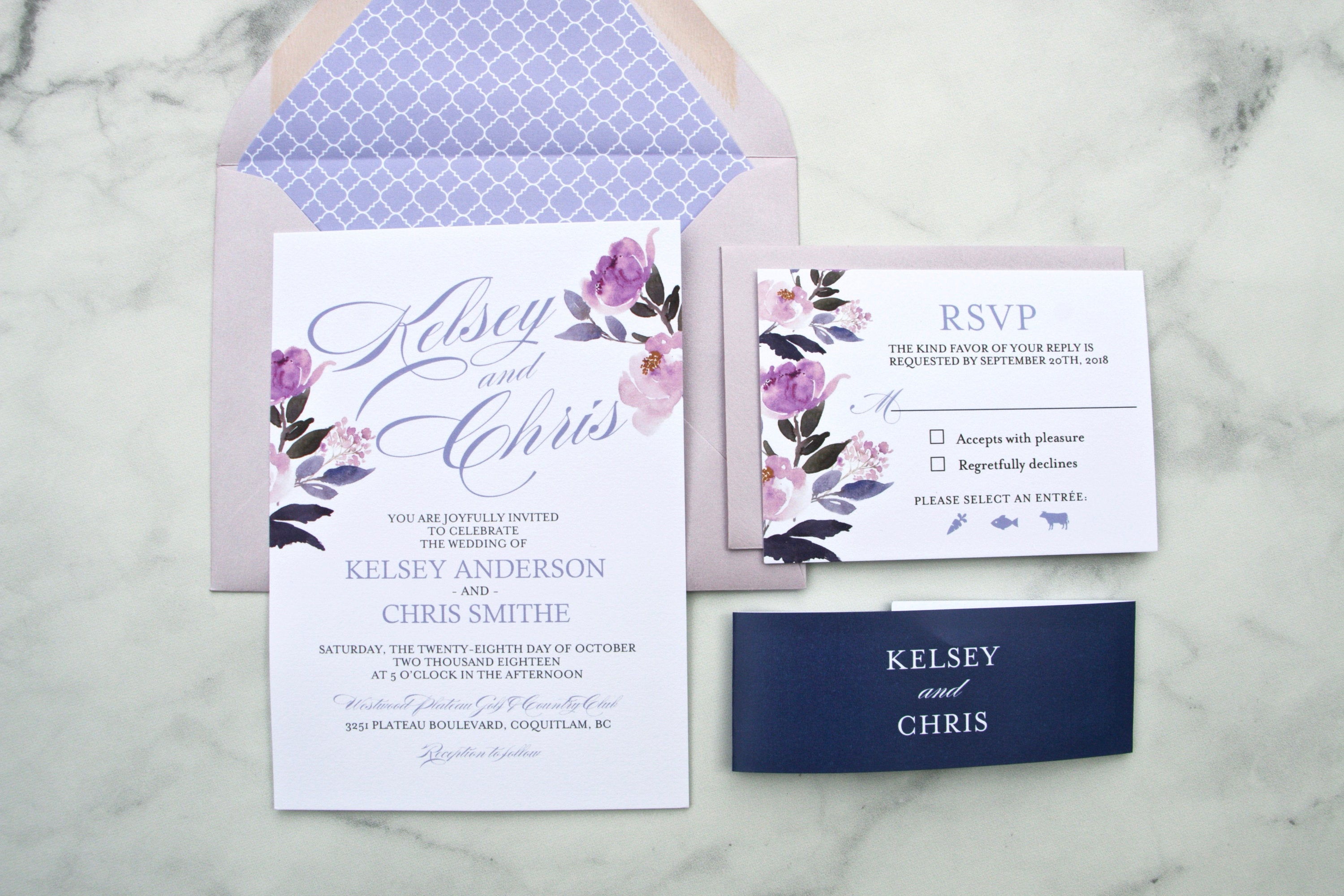 Wedding Invitations, Floral Calligraphy Style, Printed Wedding ...