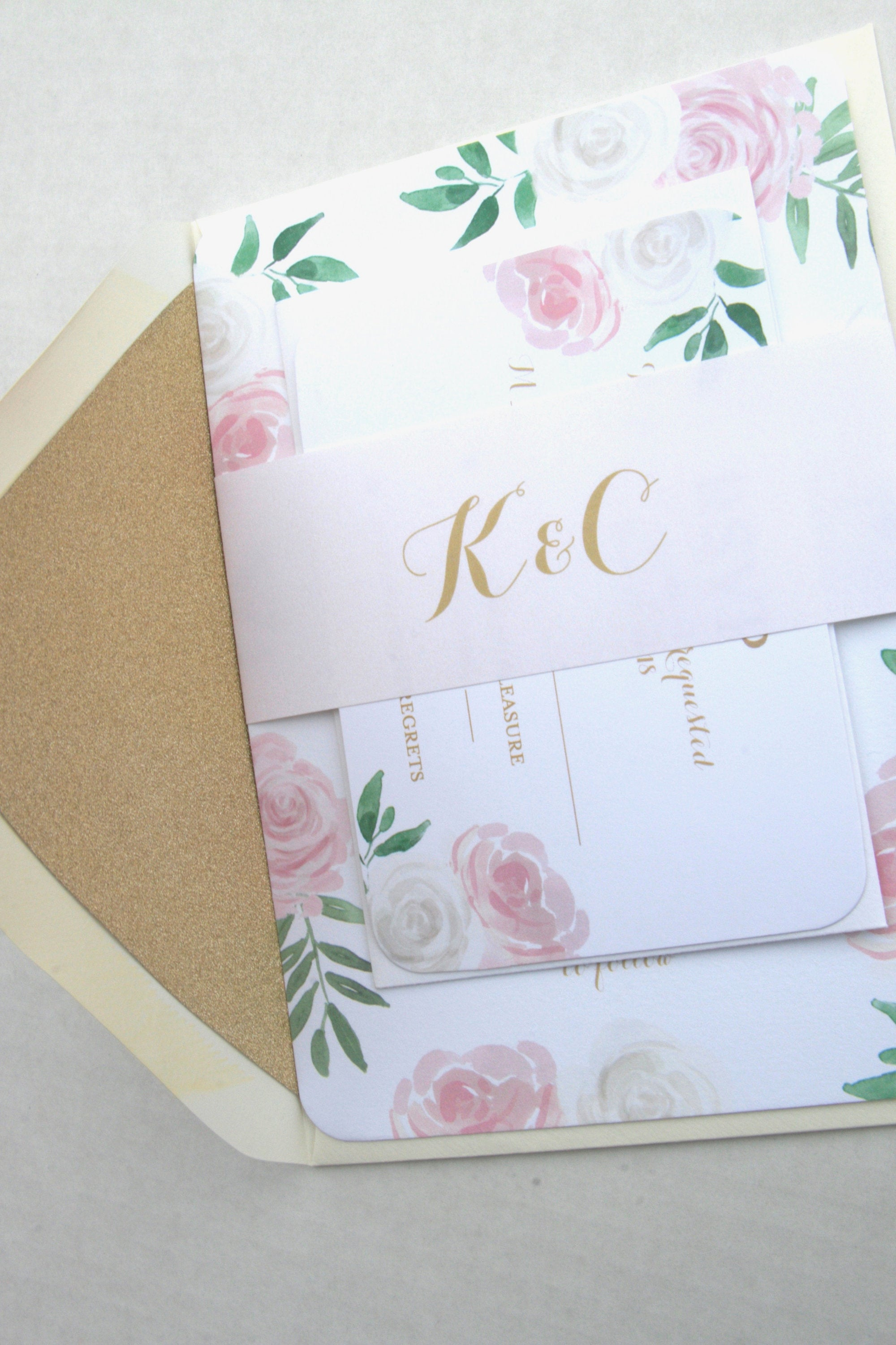 floral wedding invitation suite printed pink white floral wedding