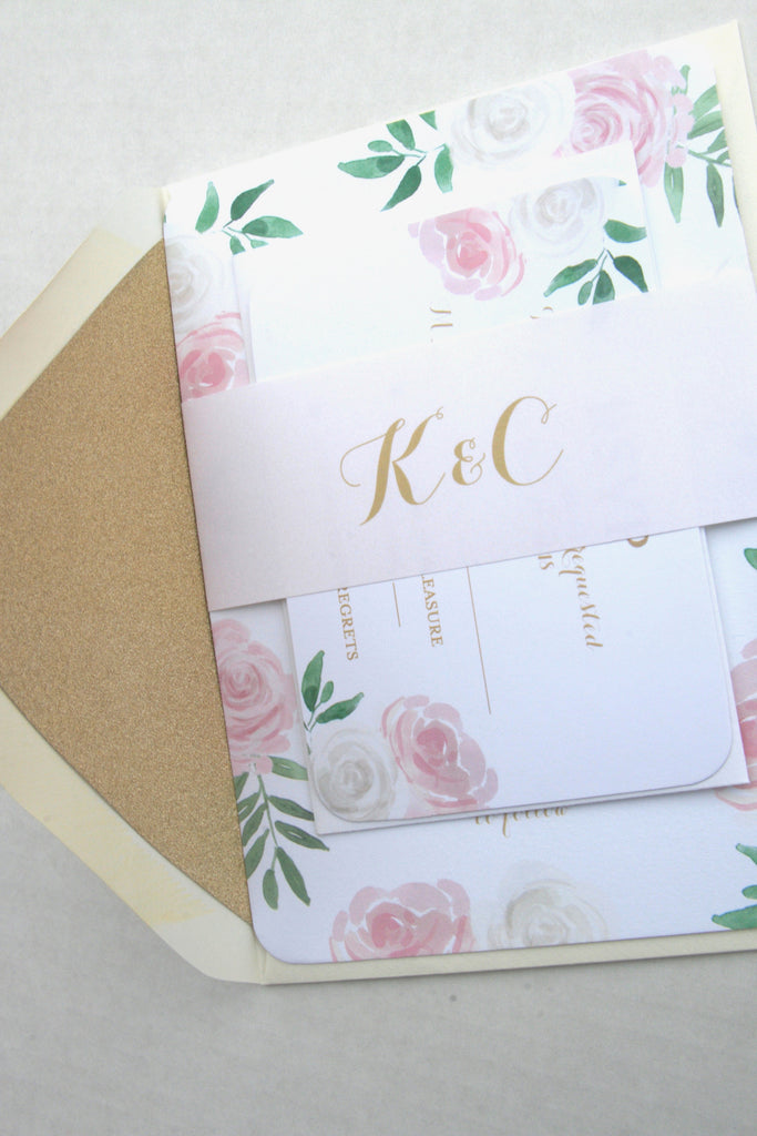 Printed Floral Wedding Invitation Suite, Pink White Floral Wedding Invitation, Blush Pink and Mint Green, Kelly Suite with RSVP insert