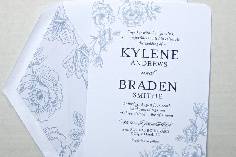 Navy Blue and White Floral Wedding Invitation Suite, Printed Wedding Invitation Suite, Printed Wedding Invites, Kylene Suite