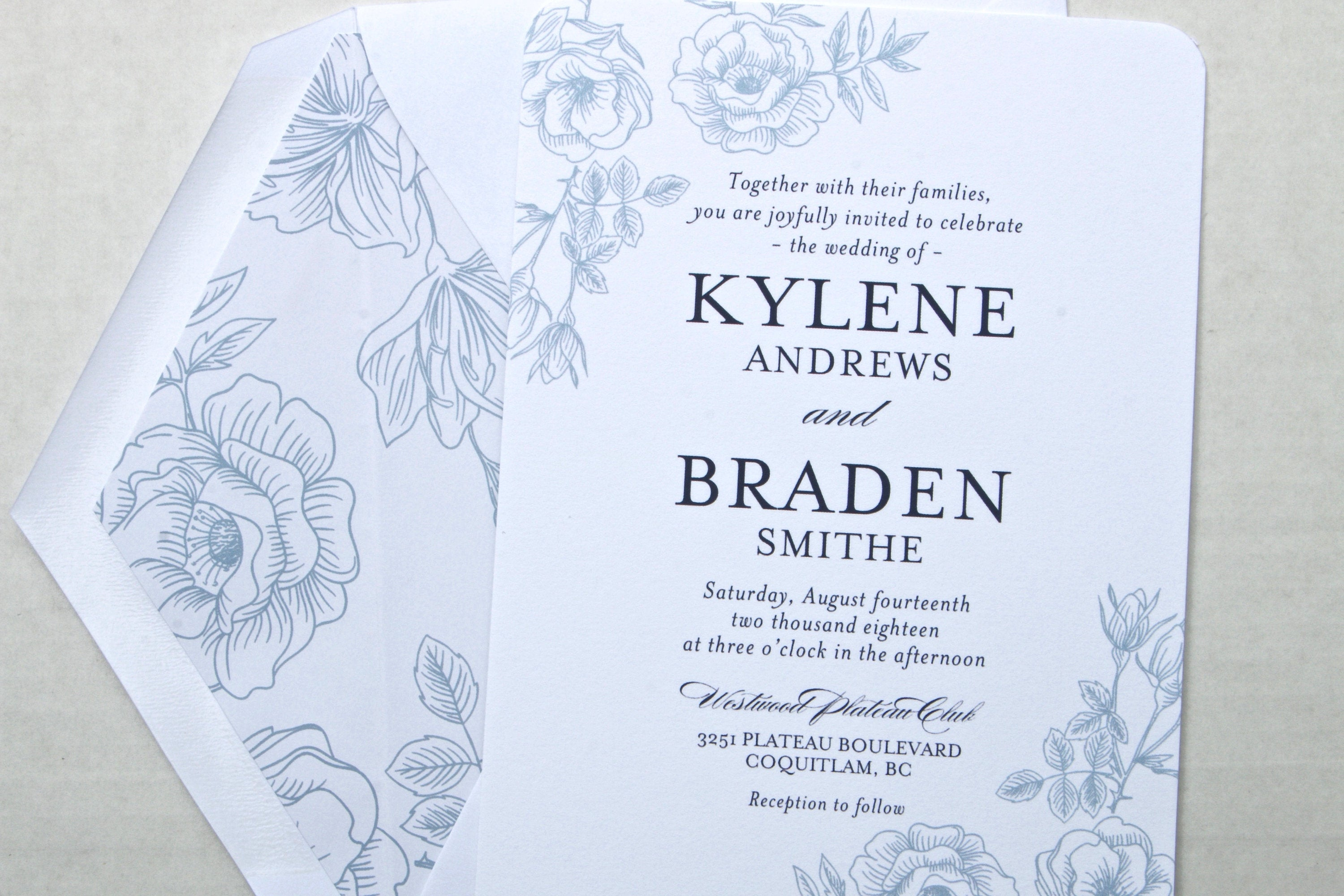 Wedding invitations navy blue and white floral printed wedding wedding invitations navy blue and white floral printed wedding invitation suite printed wedding invites kylene suite with rsvp insert filmwisefo