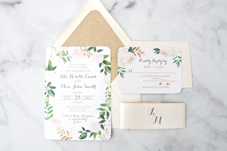 Greenery and Gold Wedding Invitations, Cream & White Roses Floral with Greenery, Printed Wedding Invitation Suite, Isla Suite