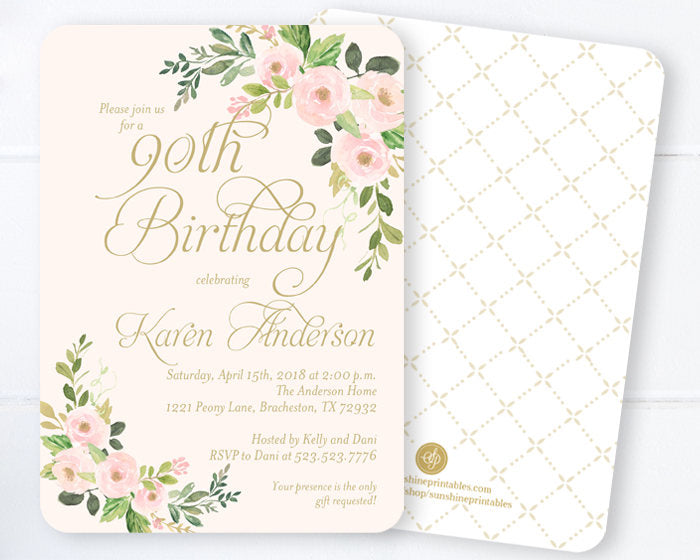 Bridal Shower Invitations, Blush Pink and Gold Bridal Shower Invites, Spring Floral Bridal Shower, Spring Bridal Invitations, ANY EVENT