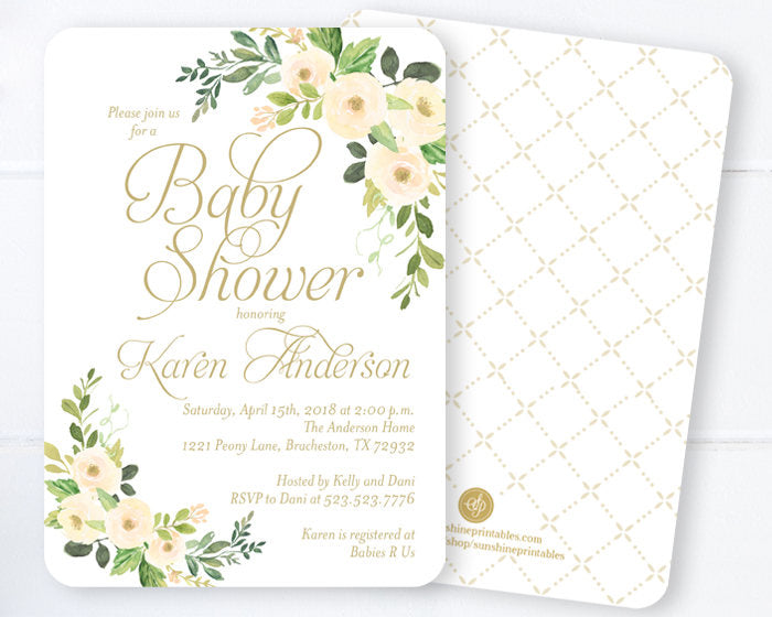 Baby Shower Invitations, Gender Neutral Baby Shower Invites, Spring Floral Baby Shower, Gold and White Botanical Baby Shower, ANY EVENT