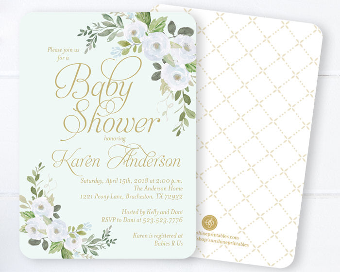 Baby Boy Shower Invitations, Soft Blue and Gold Baby Shower Invites, Spring Floral Baby Shower, Spring Baby Shower Invitations, ANY EVENT