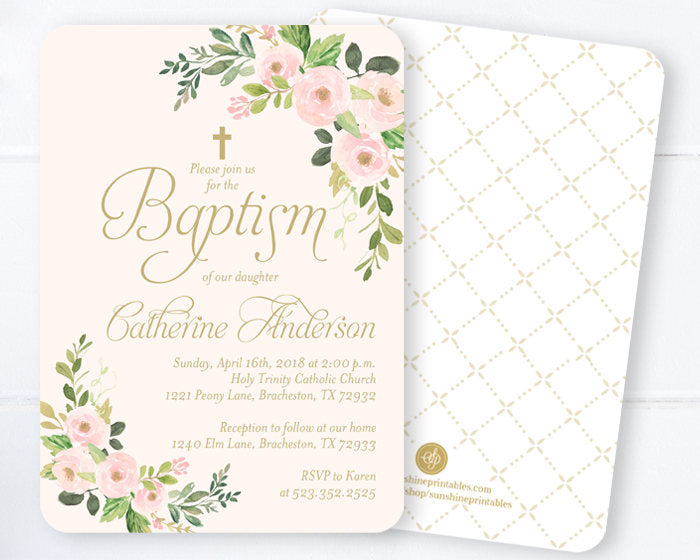 Baby Boy Baptism Invitations, Blue & Gold Watercolor Floral Baptism Invitation, Spring Floral Baptism Invitation Boy, Blue Gold Baptism