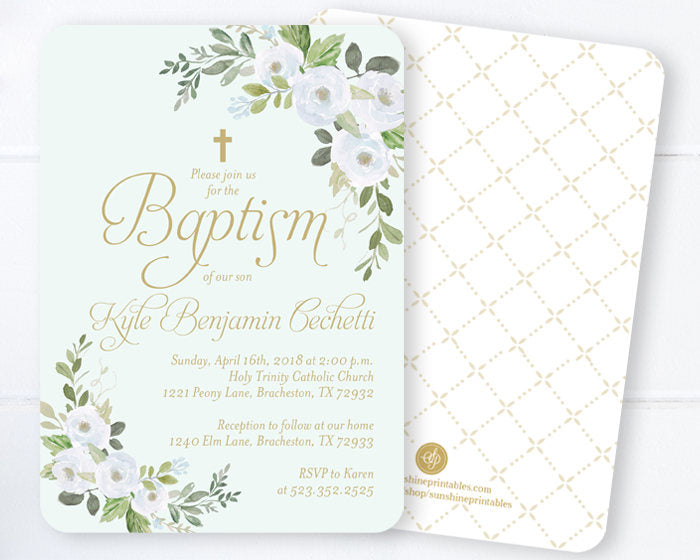 Girl Confirmation Invitation Floral, Blush Pink & Gold Floral Baptism Invitation, Spring Floral Confirmation Invitation, Pink, Gold