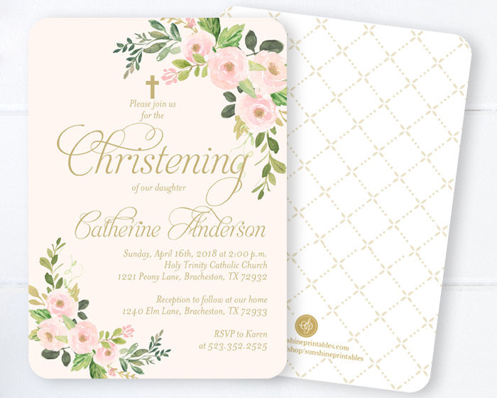 Baby Girl Baptism Invitations Blush Gold Watercolor Floral