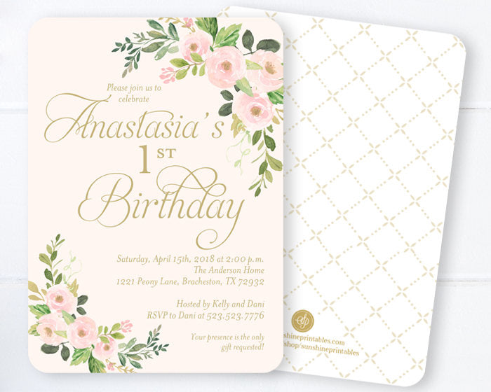 Blush Pink and Gold First Birthday Invitation Girl, Spring Floral 1st Birthday Invitation, Girls First Birthday Invitation Pink and Gold