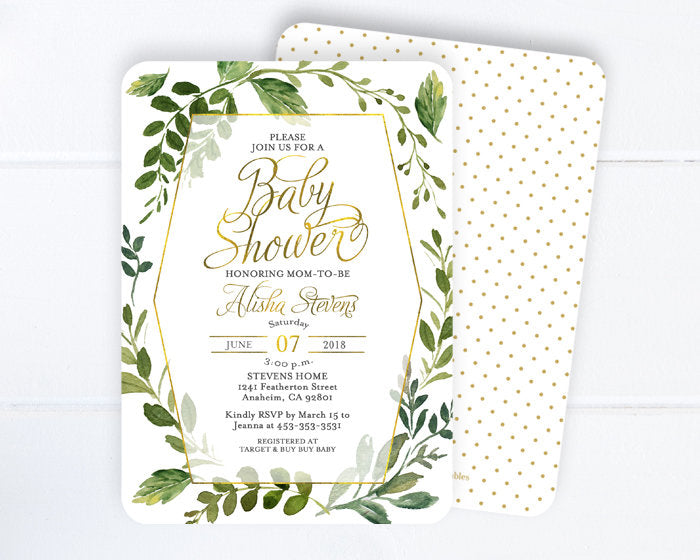 Gender Neutral Baby Shower Invitations, Greenery and Gold Baby Shower Invitation, Greenery Baby Shower Invite, Greenery Baby Shower, Boho