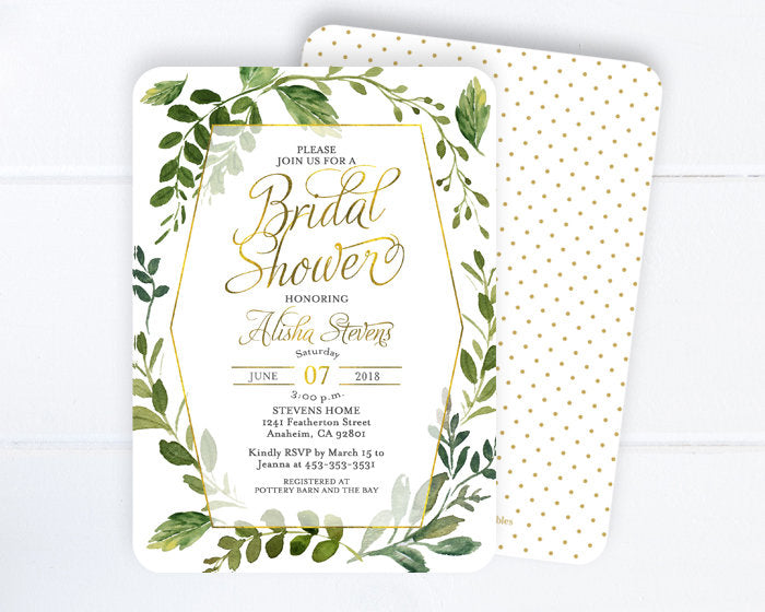 Bridal Shower Invitation, Greenery and Gold Bridal Shower, Greenery Wedding, Greenery Bridal Shower Invite, Bridal Brunch Invitation