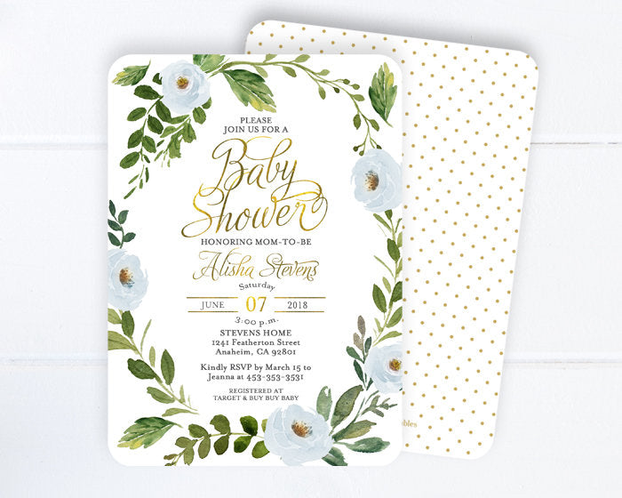 Baby Boy Shower Invitation, Blue Floral Wreath Baby Shower Invite, Blue & Gold Boy Baby Shower Invitation, Baby Sprinkle, Boho Baby Boy