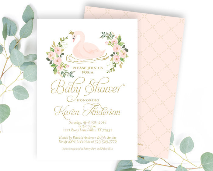 Swan Princess Baby Shower Invitation, Little Princess Baby Shower, Swan Baby Shower Invitation, Baby Girl Shower Invite, Swan Party Invite