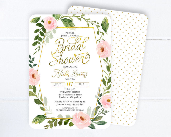 c78e676e197b Pink and Gold Floral Bridal Shower Invitation