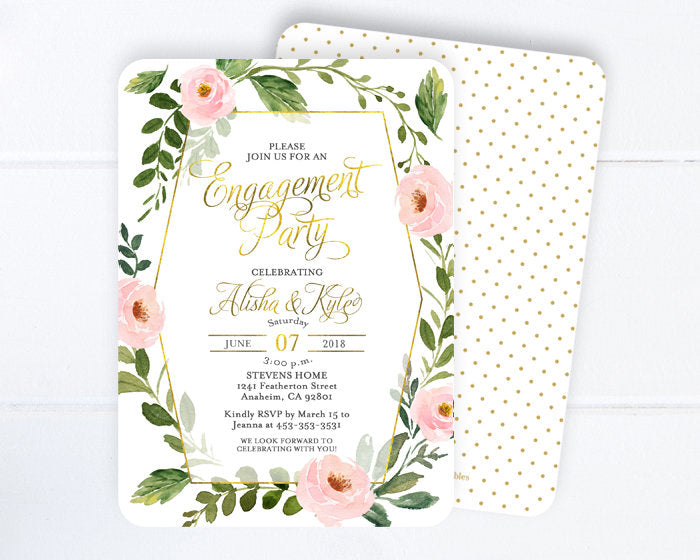 Engagement Party Invitation, Blush Pink and Gold Engagement Party Invite, Greenery Floral Rehearsal Dinner Invite, ANY EVENT
