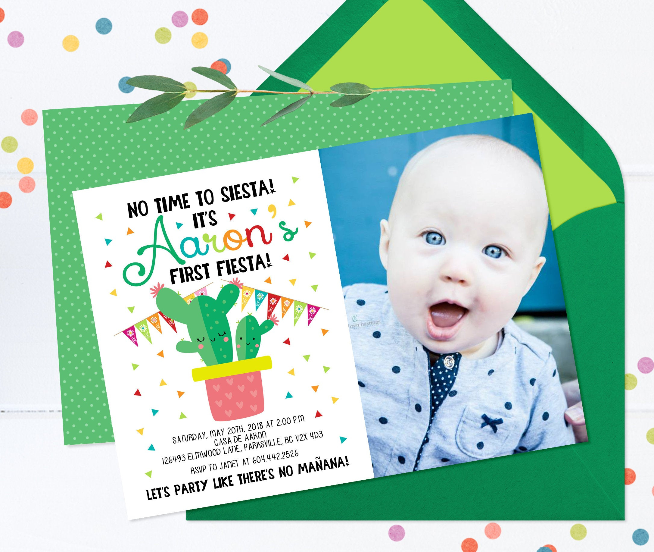First Birthday Invitation Girl Fiesta Invite 1st ANY AGE