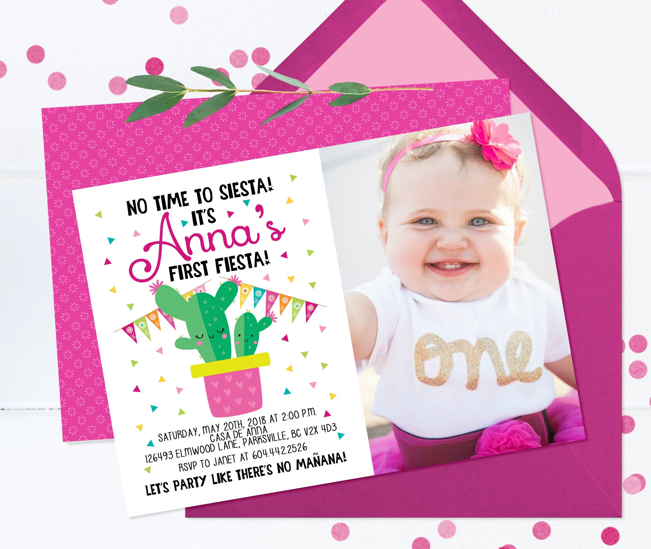 No Time To Siesta Lets Fiesta Invitation 1st Birthday First Invite Mexican Theme Cactus