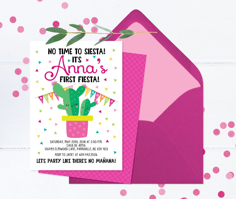 Fiesta First Birthday Invitation, Fiesta Invitation, 1st Birthday Invitation Girl, First Fiesta Invite, Fiesta Girl Birthday Invite, ANY AGE