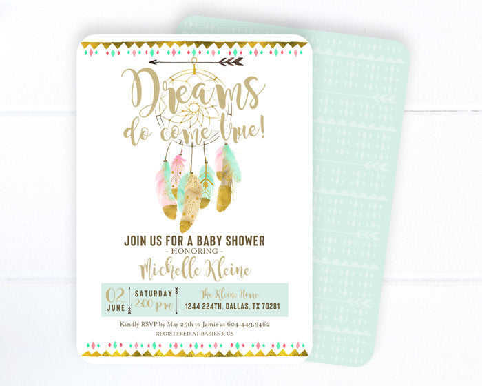 Dreamcatcher Boho Baby Shower Invitation, Dreams Do Come True, Gender Neutral, Dream Catcher, Feathers, Bohemian, Mint and Blush