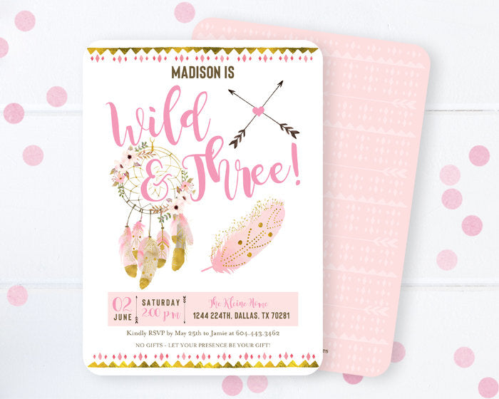Wild & Three Birthday Invitation, Dreamcatcher Boho 3rd Birthday Invite, Pink and Gold, Watercolor Dreamcatcher, Girl Birthday Invitation