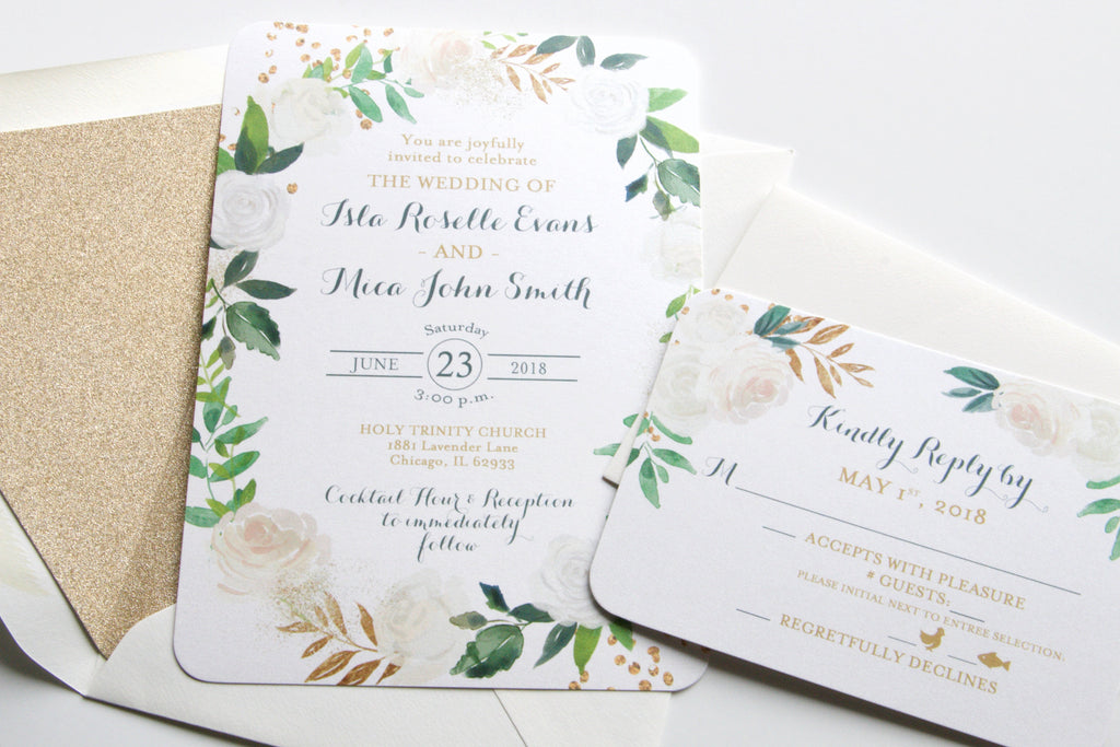 Printed Wedding Invitations, White Roses Floral, Greenery and Gold Glitter, Printed Wedding Invitation Suite, Isla Suite, with RSVP Insert