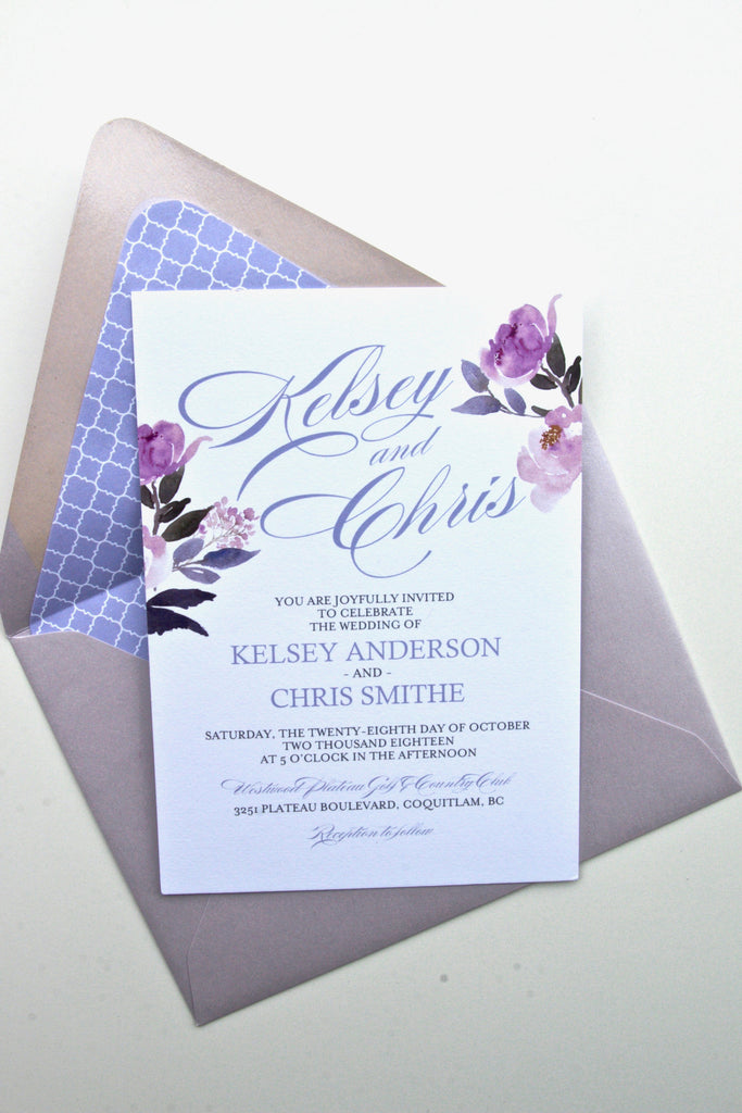 Calligraphy Style Peony Floral Wedding Invitations, Printed Wedding Invitations, Kelsey Suite, with RSVP Insert, Lavender and Pink
