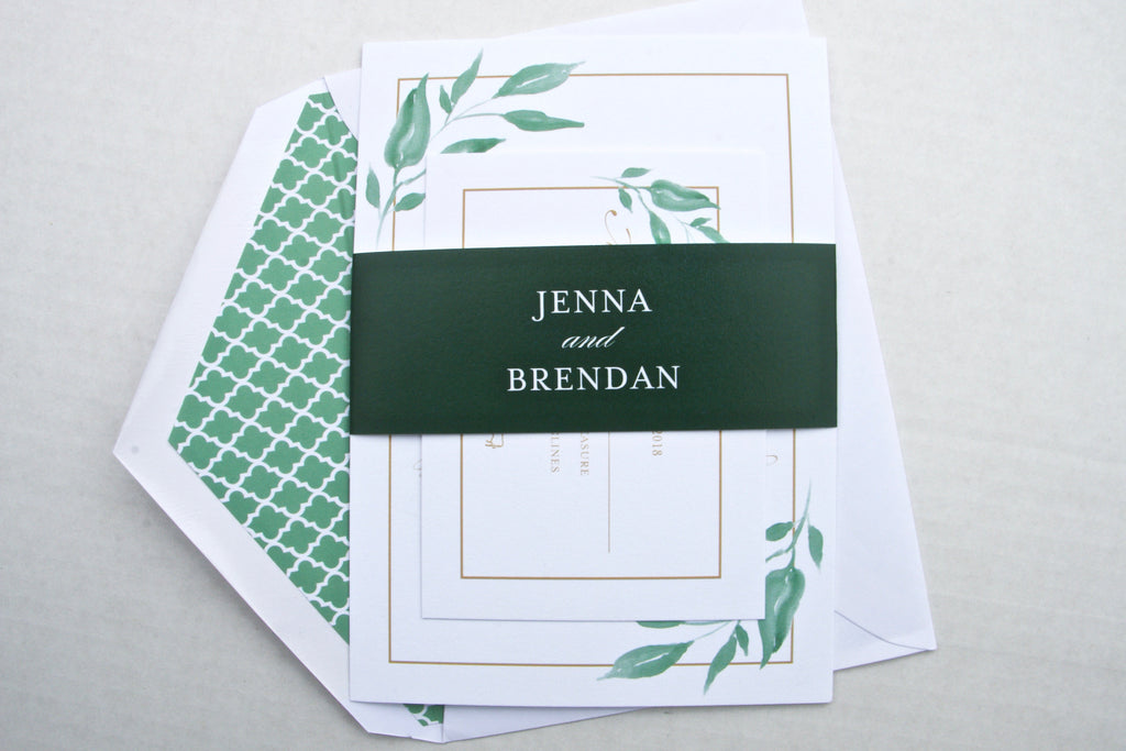 Greenery Wedding Invitations, Greenery Leaves & Gold, Printed Wedding Invites, Jenna Suite, Natural Rustic Invitation Suite with RSVP Insert