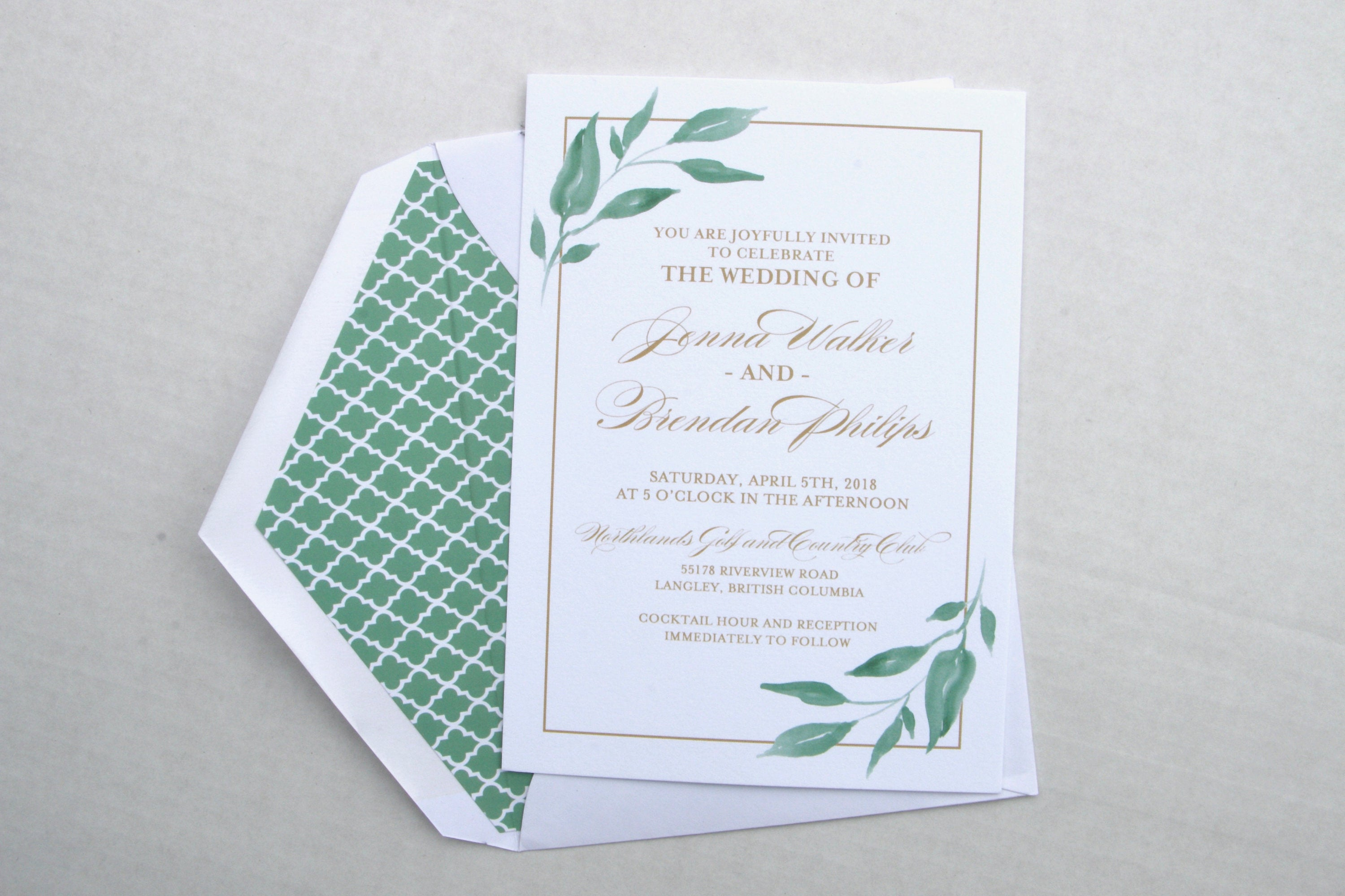 Greenery Wedding Invitations, Greenery Leaves & Gold, Printed ...
