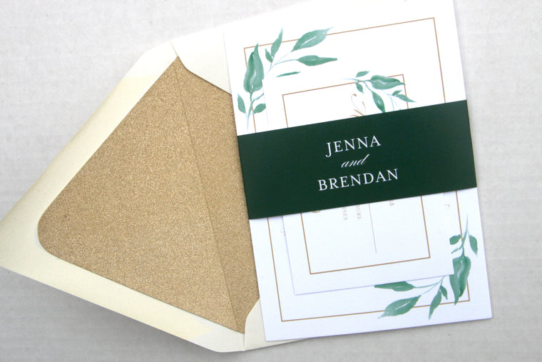 Greenery Wedding Invitations, Printed Wedding Invites, Greenery Leaves & Gold, Jenna Suite, Boho Greenery Invitation Suite with RSVP Insert