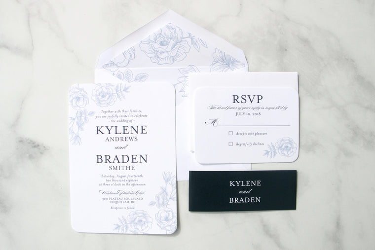 Wedding Invitations, Navy Blue and White Floral, Printed Wedding Invitation Suite, Printed Wedding Invites, Kylene Suite, with RSVP Insert