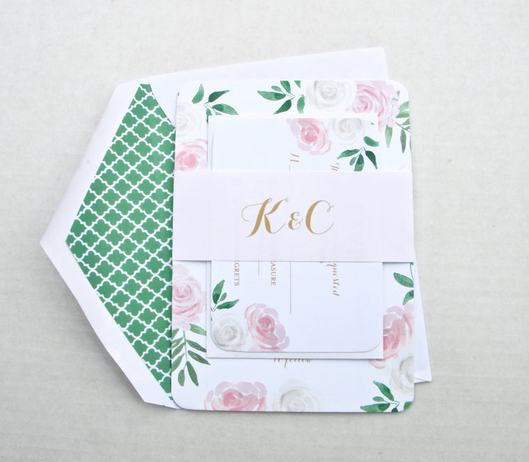 Floral Wedding Invitation Suite, Printed Pink & White Floral Wedding Invitation, Blush Pink and Mint Green, Kelly Suite with RSVP insert