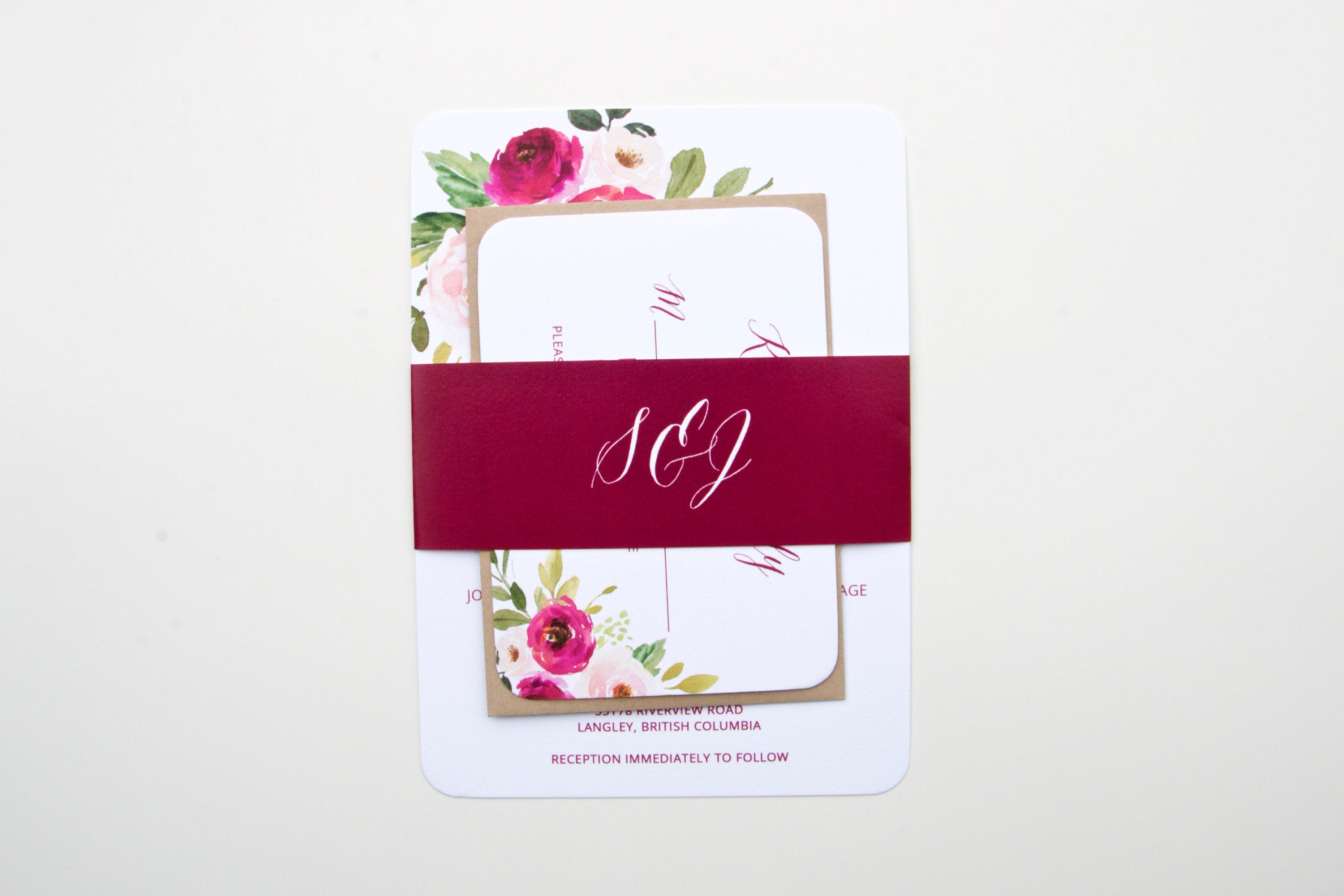 Burgundy Wedding Invitation Suite, Burgundy Watercolor Floral ...