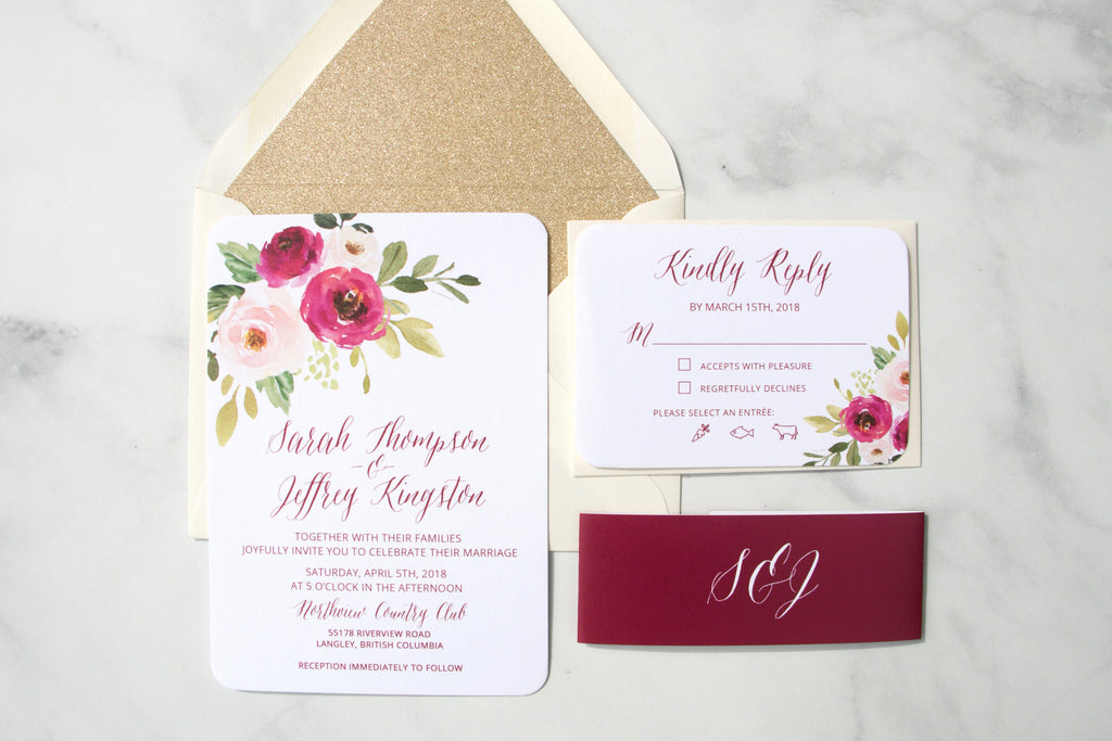 Burgundy Floral Wedding Invitations, Burgundy Invitations, Elegant Wedding Floral Watercolor Invitations, Printed Invitations, Sarah Suite