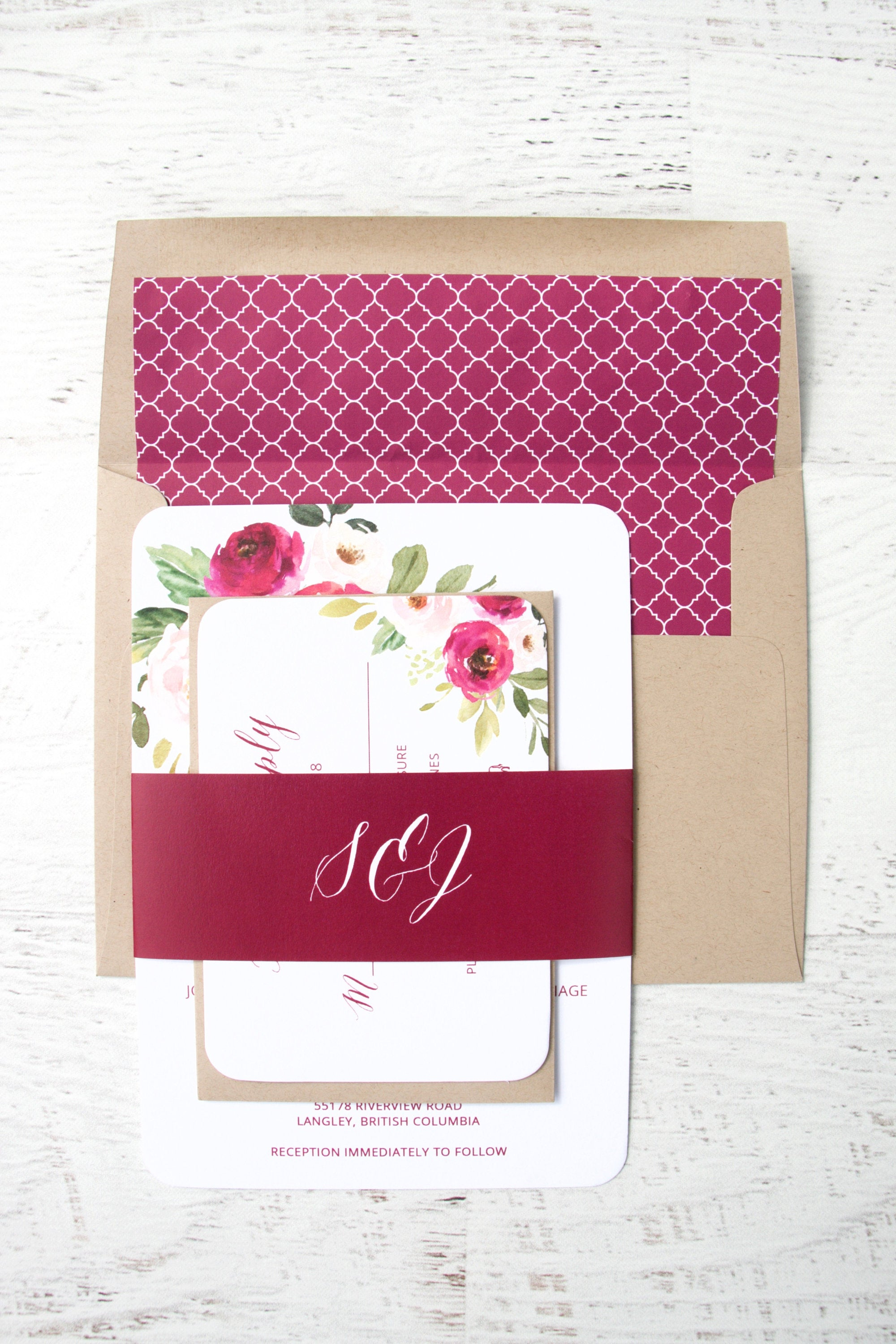 Burgundy Floral Wedding Invitations, Burgundy Invitations, Elegant ...